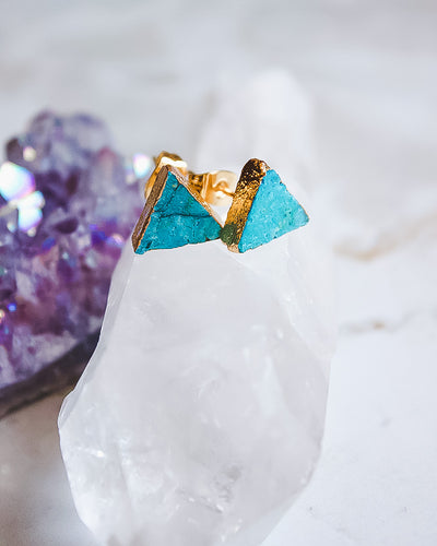 24KT Gold Plated Triangle Earrings in Turquoise - Babe Outfitters
