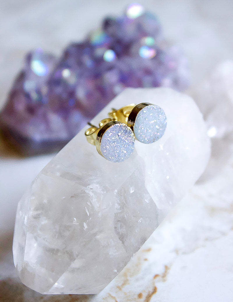 24KT Gold Plated 8mm Druzy Stud Earrings in Glittery Gray