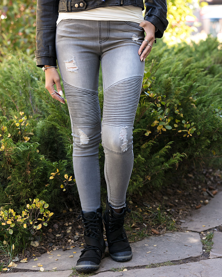 Grace & Lace Mid-Rise Distressed Denim Moto Jeggings (Grey Denim) - Babe Outfitters