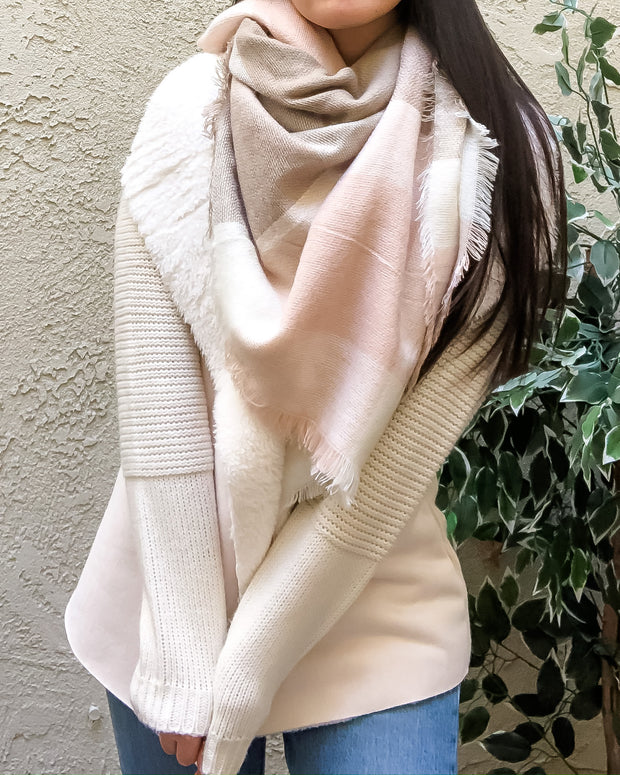 Cozy Days Blanket Scarf (Blush & Taupe)