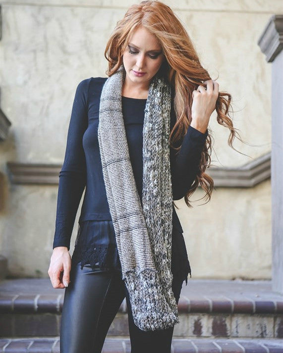 Mixed Textured Knit Infinity Scarf
