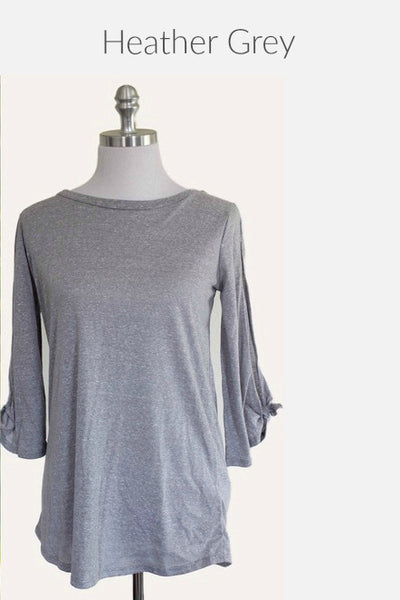 Follow The Breeze Open Sleeve Bow Tie Top (Heather Grey) - Mint Wish
