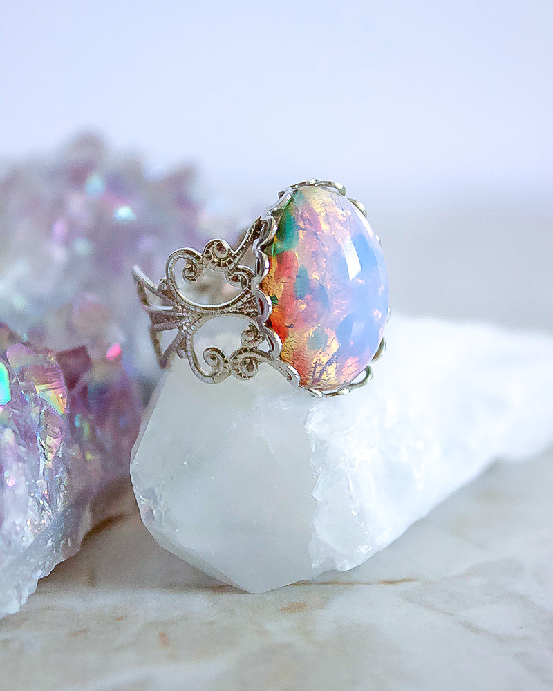 Aura Ring - Milky Pink Opal