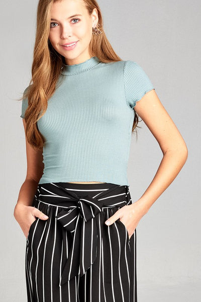 Lisette Ribbed Mock Neck Top - Mint Wish