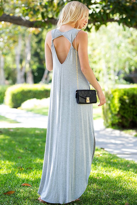 Harper Open Twist Back Maxi Dress (Grey) - Mint Wish