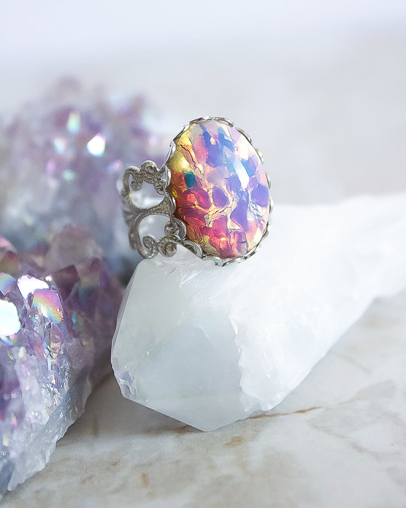 Aura Ring - Pink Confetti Opal - Babe Outfitters