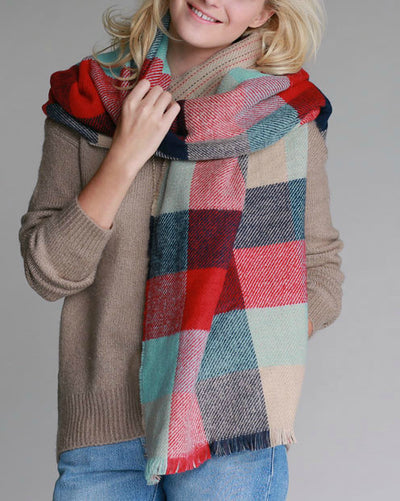 Reversible Blanket Scarf in Color Block & Stitched Stripe - Mint Wish