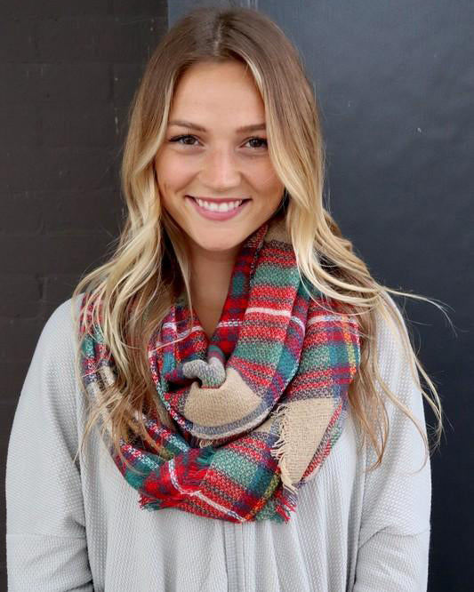 Autumn Vibes Infinity Scarf (Tan Plaid)