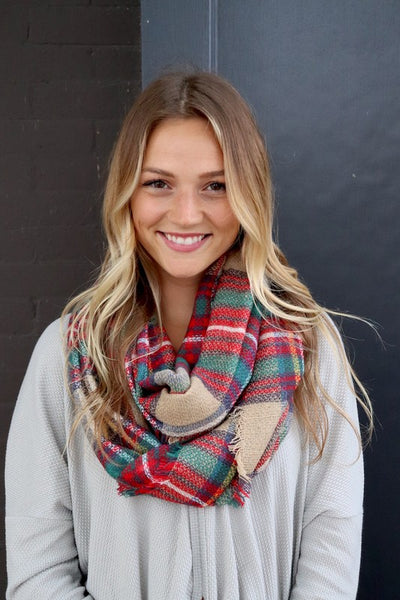 Autumn Vibes Infinity Scarf (Tan Plaid) - Babe Outfitters