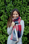 Reversible Blanket Scarf (Mint Color Block & Stitched Stripe) - Mint Wish