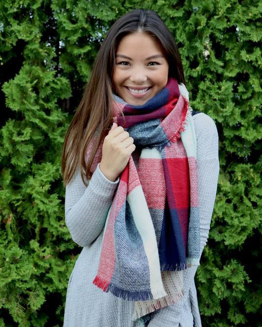 Wrap it Up Reversible Blanket Scarf (Mint Color Block & Stitched Stripe)