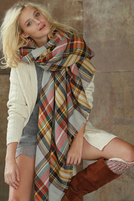 Campfire Blanket Scarf (Mustard Combo) - Babe Outfitters