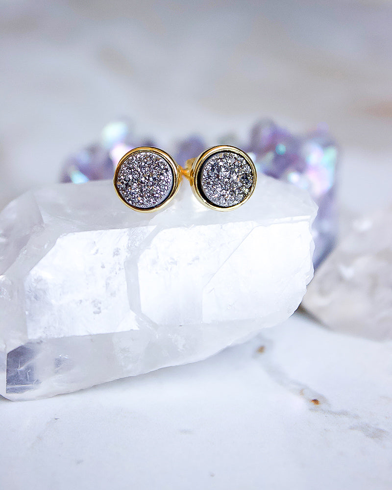 24KT Gold Plated 8mm Druzy Stud Earrings in Silver