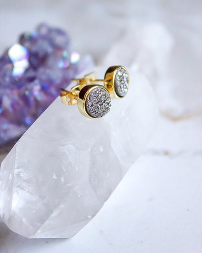 24KT Gold Plated 8mm Druzy Stud Earrings in Silver - Babe Outfitters