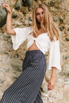 Seafarer Striped Wide Leg Pants - Mint Wish