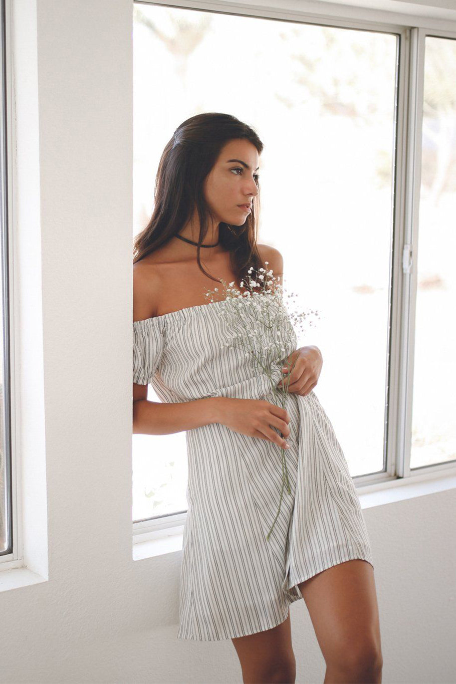 Stripe Off The Shoulder Dress - Mint Wish