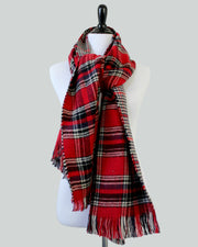 Autumn Air Reversible Blanket Scarf (Red Plaid & Houndstooth) - Babe Outfitters