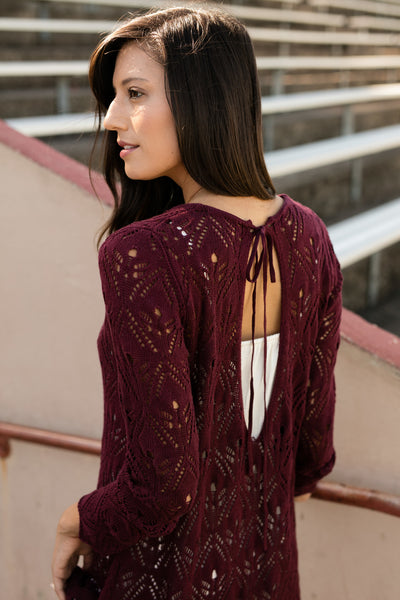 Grace & Lace Pointelle Tie-Back Sweater - Babe Outfitters