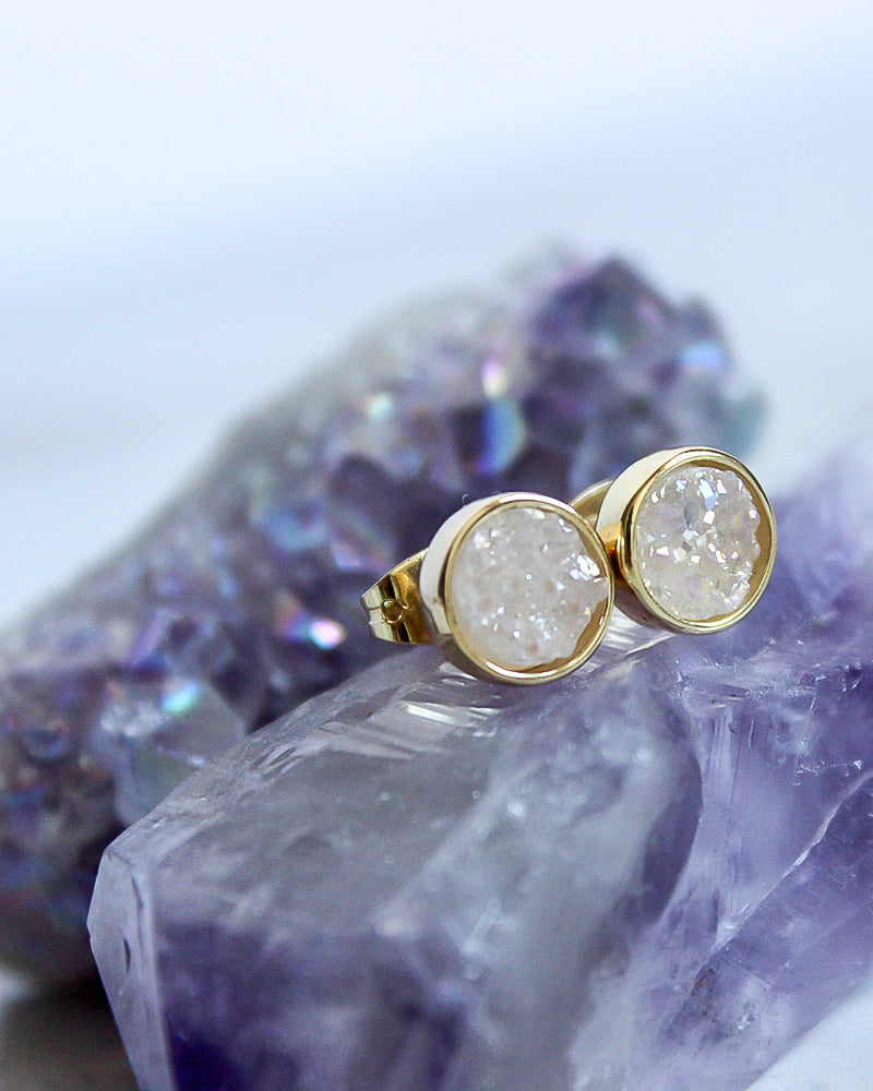 24KT Gold Plated 8mm Druzy Stud Earrings in Snow