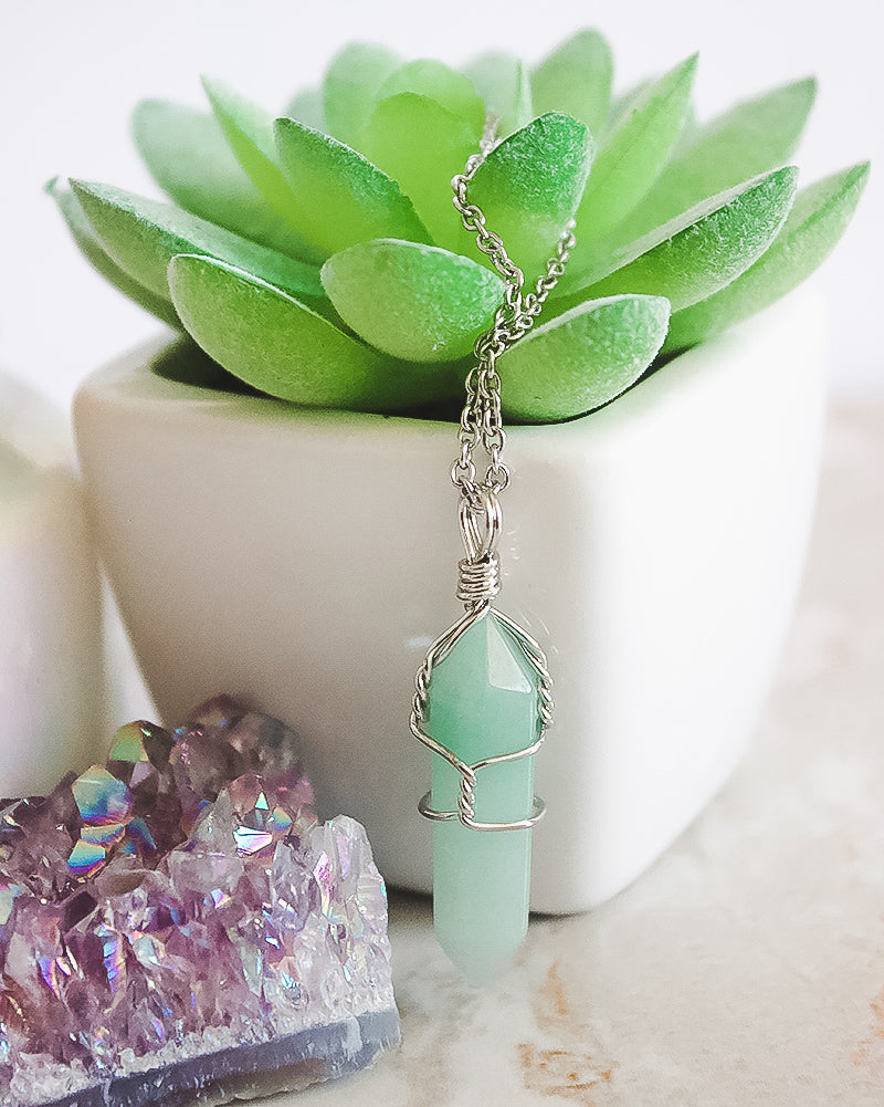 Wrapped Aventurine Necklace-Silver