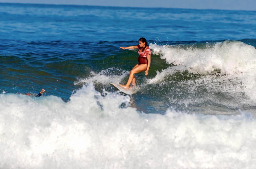 Renata Surfing Pregnant in the Socoa Surfsuit