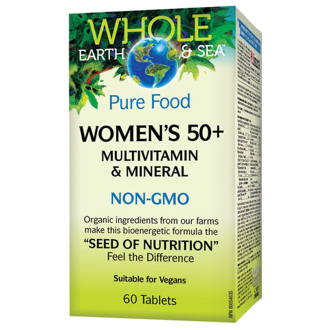 Natural Factors Whole Earth & Sea Women's 50+ Multivitamin & Mineral, 60 Tabs