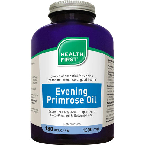 Health First Evening Primrose Oil, 1300mg - 180 Gelcaps - Homegrown Foods, Stony Plain