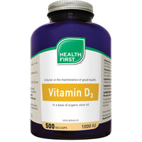Health First Vitamin D3, 1000IU, 500 Gelcaps