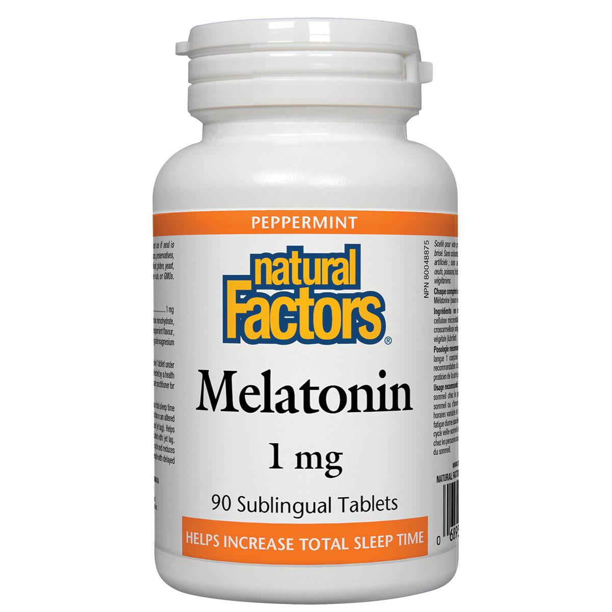 Natural Factors Melatonin (Peppermint), 1mg, 90 Sublingual Tablets