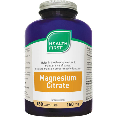 Health First Magnesium Citrate, 150mg, 180 Caps