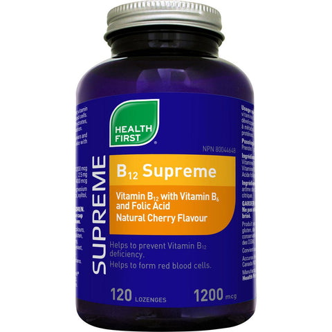 Health First B12 Supreme with B6 and Folic Acid, 1200mcg 120 Lozenges (Cherry Flavour)