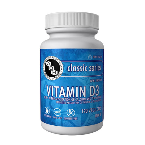 AOR Vitamin D3 (1000 IU / 120 Vegetable Capsules)