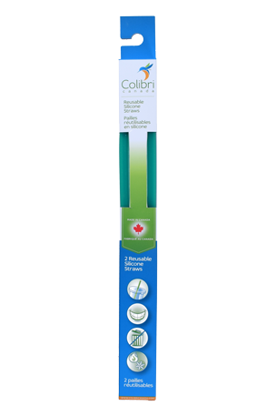 COLIBRI REUSABLE STRAWS GREEN 2 PACK
