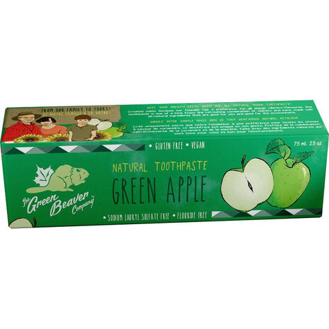 Green Beaver Natural Toothpaste (Green Apple) - 75ml - Homegrown Foods, Stony Plain
