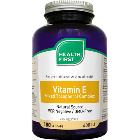 Health First Vitamin E Mixed Tocopherol Complex, 400IU - 180 Gel Caps - Homegrown Foods, Stony Plain