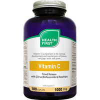 Health First Vitamin C with Bioflavonoids & Rosehips, 1000mg - 180 Caps (Timed Release)