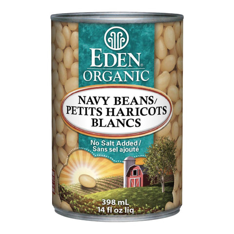 EDEN ORGANIC NAVY BEANS NO SALT, 398ML