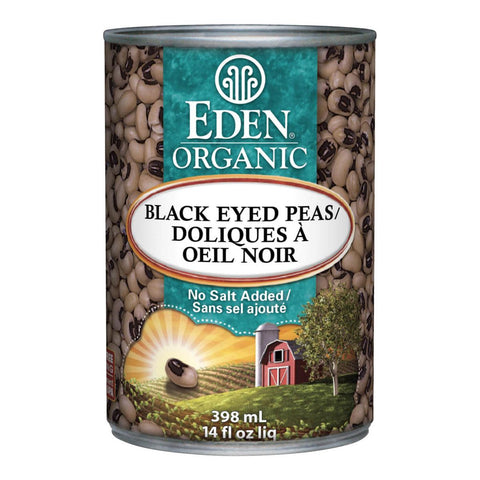 EDEN ORGANIC BLACK EYED PEAS NO SALT, 398ML