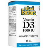 Natural Factors Vitamin D3 1000IU, 15ml (500 drops per bottle)