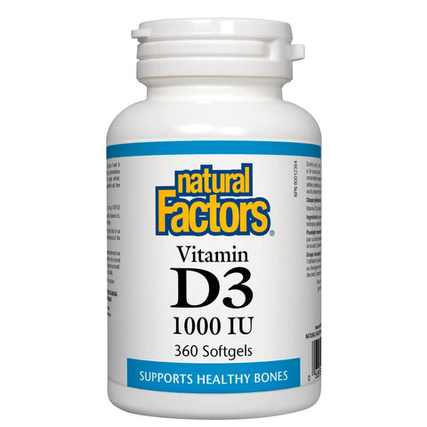 Natural Factors Vitamin D3, 1000IU, 360 Softgels