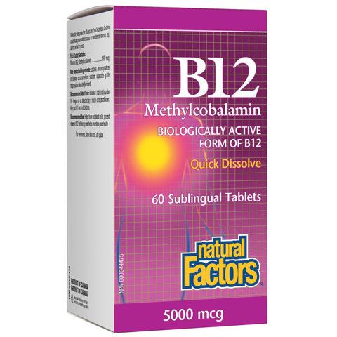 Natural Factors B12 Methylcobalamin, 5000mcg - 60 Sublingual Tabs - Homegrown Foods, Stony Plain