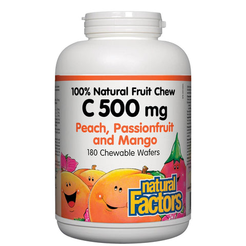 Natural Factors Vitamin C 100% Natural Fruit Chew (Peach, Passionfruit, Mango), 500mg, 180 Chewables