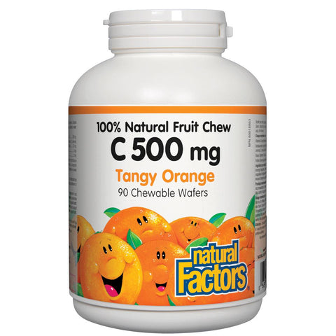 Natural Factors Vitamin C 100% Natural Fruit Chew (Tangy Orange Flavour), 500mg, 90 Chewables