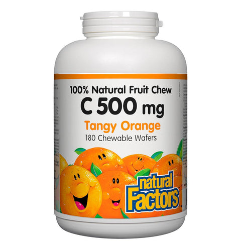 Natural Factors Vitamin C 100% Natural Fruit Chew (Tangy Orange Flavour), 500mg, 180 Chewables