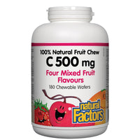 Natural Factors 100% Natural Vitamin C 500mg (Four Mixed Fruit Flavour), 180 Chewables