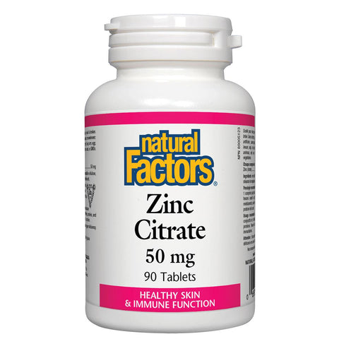 Natural Factors Zinc Citrate, 50mg, 90 Tabs