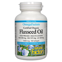 Natural Factors Organic Flaxseed Oil, 1000mg, 90 softgels