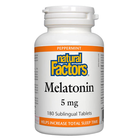 Natural Factors Melatonin (Peppermint), 5mg, 180 Sublingual Tablets