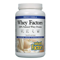 Natural Factors 100% Natural Whey Protein, French Vanilla, 1kg (45 Servings)