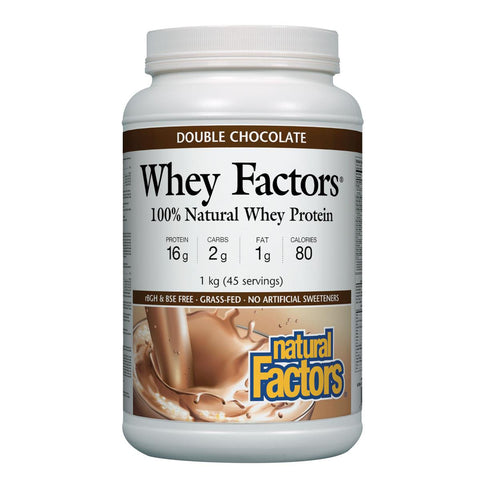 Natural Factors 100% Natural Whey Protein, Double Chocolate, 1kg